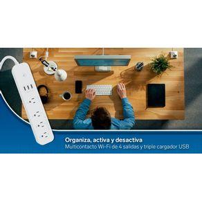 Multicontacto Wi-Fi de 4 salidas horizontales y triple cargador USB Steren